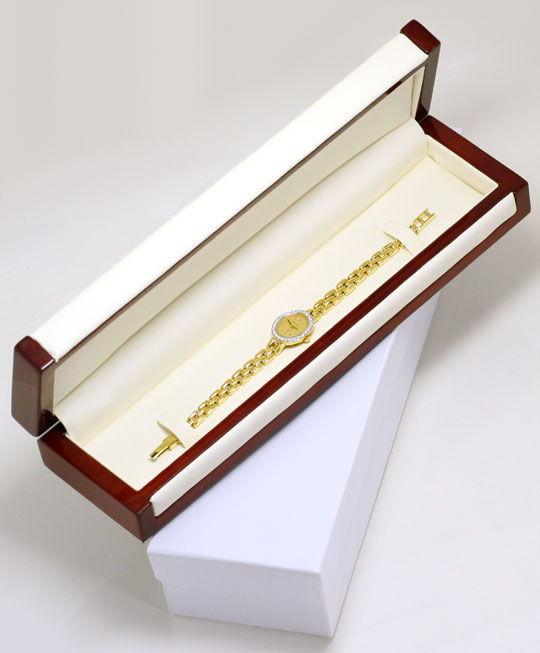Foto 6, Bernina Damen-Armbanduhr 14K Gelbgold Diamantenluenette, U2321