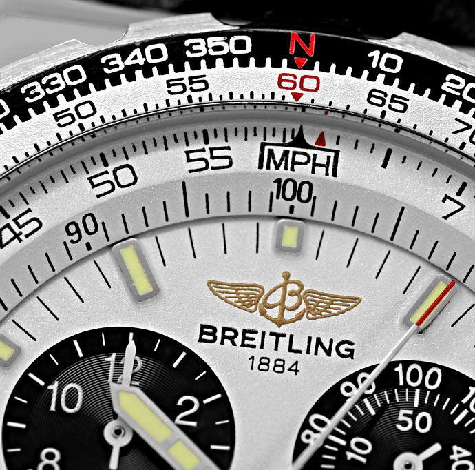 Foto 2 - Breitling Jupiter Pilot Chronograph Alarm Edelstahl Uhr, U2324