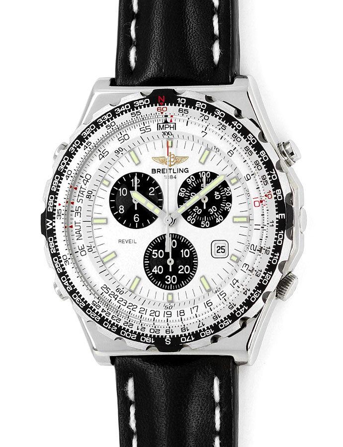 Foto 3 - Breitling Jupiter Pilot Chronograph Alarm Edelstahl Uhr, U2324