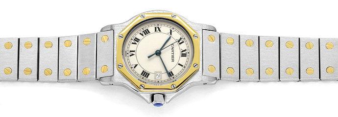 Foto 1 - Cartier Santos Ronde 8 Eck Herren Medium Uhr Stahl Gold, U2327