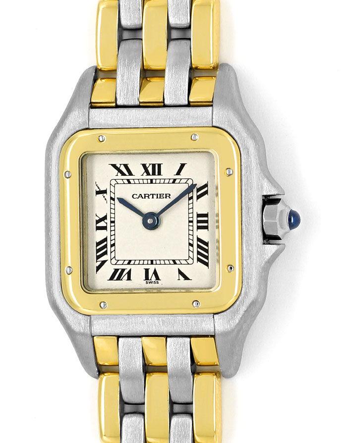 Foto 2 - Cartier Panthere Damen Armbanduhr mit drei Steifen Gold, U2328