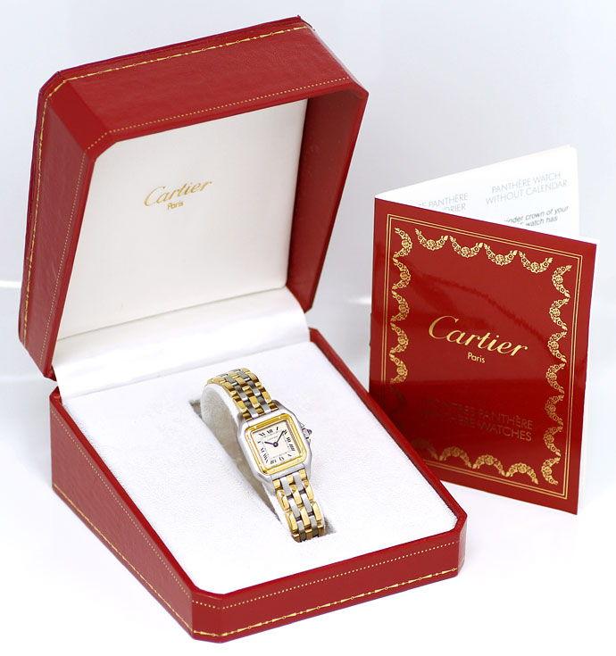 Foto 6 - Cartier Panthere Damen Armbanduhr mit drei Steifen Gold, U2328