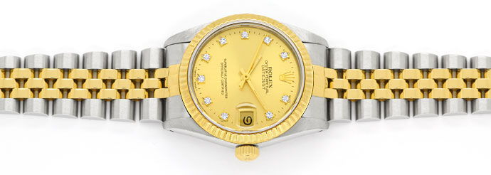 Foto 1 - Rolex Datejust Diamant Zifferblatt Medium Uhr Stahlgold, U2331