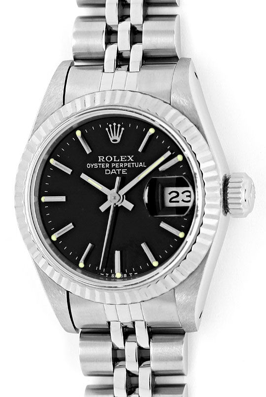 Foto 2, Rolex Date Weissgold-Lünette Edelstahl Damen-Armbanduhr, U2332