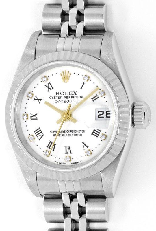 Foto 2 - Rolex Diamanten Weissgold Luenette ST Datejust Damenuhr, U2334