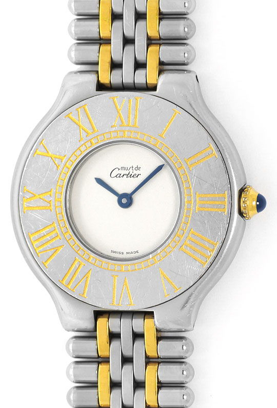 Foto 2 - Cartier Armbanduhr must de Cartier Montre 21 Stahl Gold, U2339