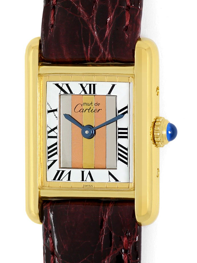 Foto 2, Cartier Tank Golden mit drei-Gold-Zifferblatt, Damenuhr, U2341
