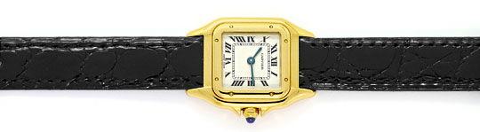 Foto 1, Cartier Panthere Gold mit Schwarzem Kroko-Armband Damen, U2352