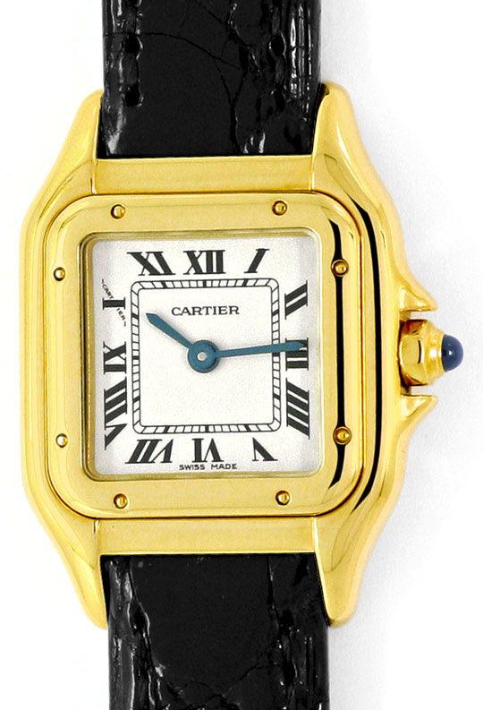 Foto 2, Cartier Panthere Gold mit Schwarzem Kroko-Armband Damen, U2352