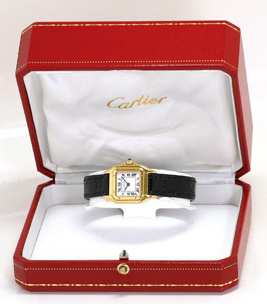 Foto 8, Cartier Panthere Gold mit Schwarzem Kroko-Armband Damen, U2352