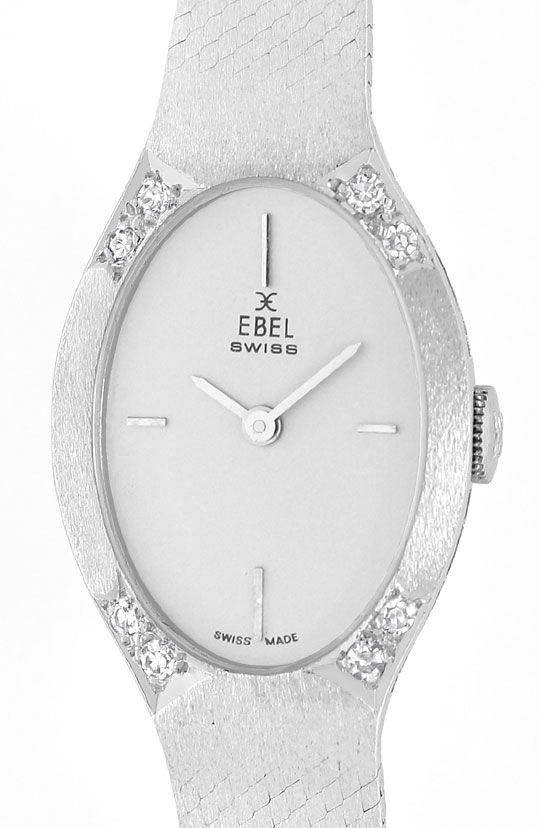 Foto 2, Ebel 18K Weissgold Damenuhr, Diamanten auf Dem Gehaeuse, U2369
