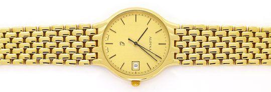 Foto 1, Alpina Gold-Herrenarmbanduhr Datum Sekunde 585 Gelbgold, U2376
