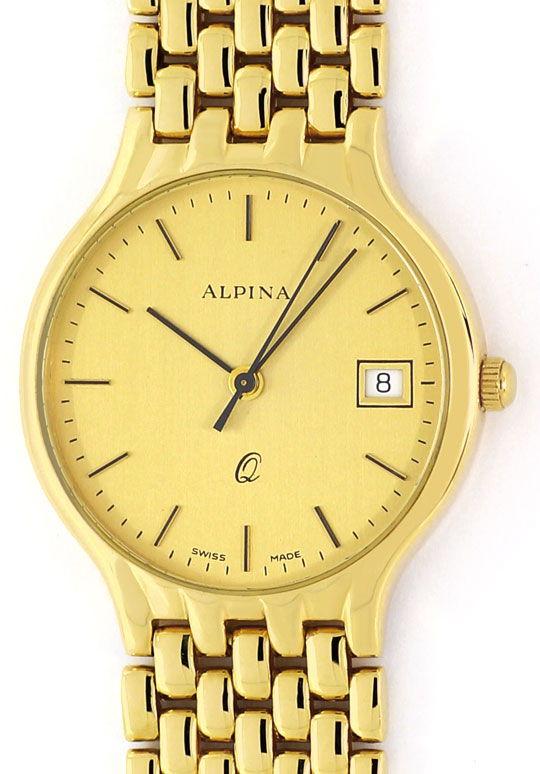 Foto 2, Alpina Gold-Herrenarmbanduhr Datum Sekunde 585 Gelbgold, U2376