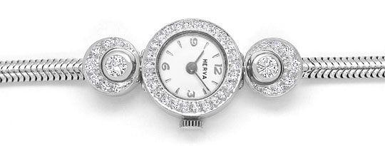 Foto 1, Herva Diamant-Damen-Armbanduhr mit 0,97ct 14K Weissgold, U2381