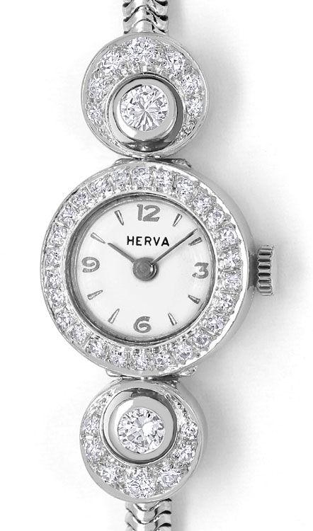 Foto 2, Herva Diamant-Damen-Armbanduhr mit 0,97ct 14K Weissgold, U2381