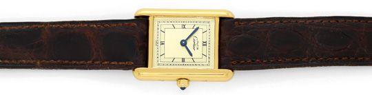 Foto 1, Must.de Cartier Tank Vermeil Krokoband Damen-Armbanduhr, U2386