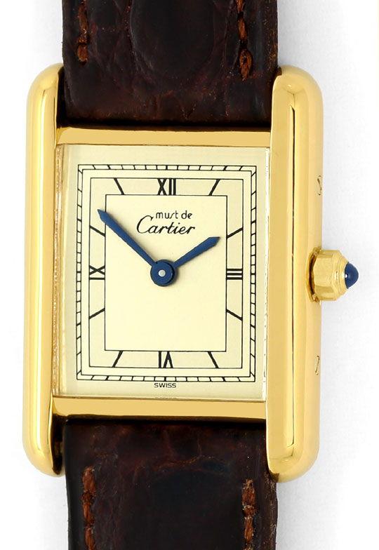 Foto 2, Must.de Cartier Tank Vermeil Krokoband Damen-Armbanduhr, U2386