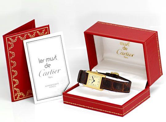 Foto 4, Must.de Cartier Tank Vermeil Krokoband Damen-Armbanduhr, U2386