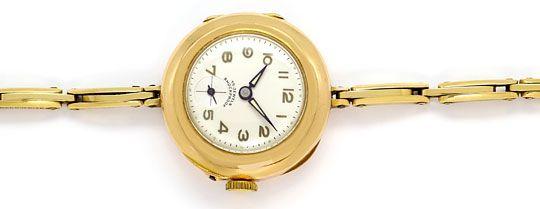 Foto 1, Alte Damen-Taschen-Armbanduhr mit Flex-Armband 14K Gold, U2387
