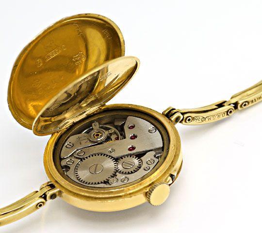 Foto 3, Alte Damen-Taschen-Armbanduhr mit Flex-Armband 14K Gold, U2387