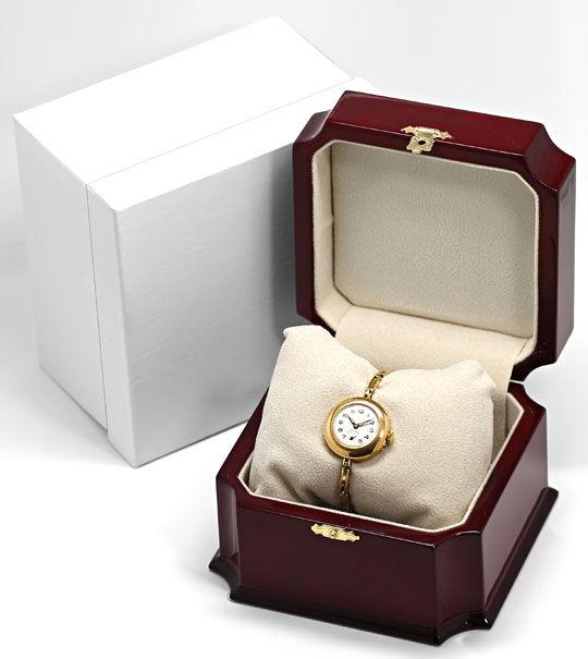 Foto 5, Alte Damen-Taschen-Armbanduhr mit Flex-Armband 14K Gold, U2387