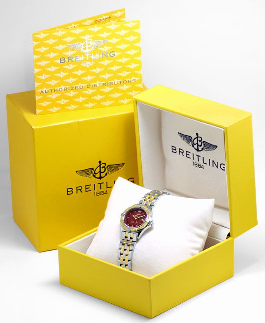 Foto 6, Original Breitling Sirius Stahl-Gold Pilotband Damenuhr, U2388