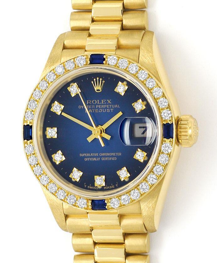 gold rolex lady diamanten safir l nette und zifferblatt u2396. Black Bedroom Furniture Sets. Home Design Ideas