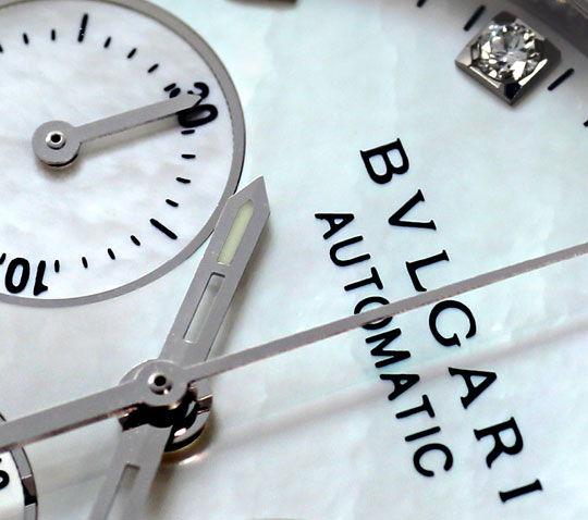 Foto 3, Ungetragen Bulgari Diagono Chrono Perlmutt Diamanten St, U2399