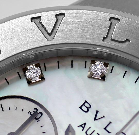 Foto 4, Ungetragen Bulgari Diagono Chrono Perlmutt Diamanten St, U2399
