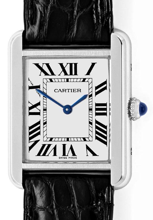 Foto 2, Cartier Tank Solo Edelstahl Kroko Falt Damen-Armbanduhr, U2404