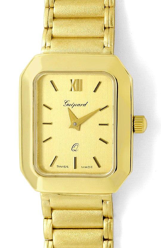 Foto 2, Guepard Damenarmbanduhr Gliederband 14K Gold Neuzustand, U2418