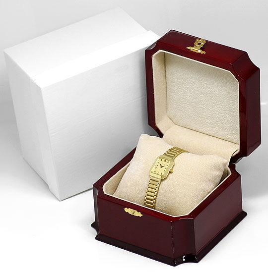 Foto 5, Guepard Damenarmbanduhr Gliederband 14K Gold Neuzustand, U2418