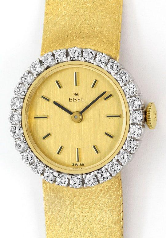 Foto 2, Ebel Damenarmbanduhr 1,12ct Brillanten-Lünette 18K Gold, U2422