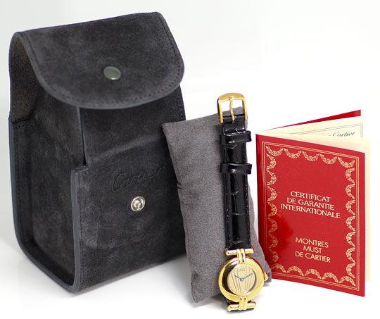 Foto 5, Cartier Colisee Argent Silber Vergoldet Damenarmbanduhr, U2431