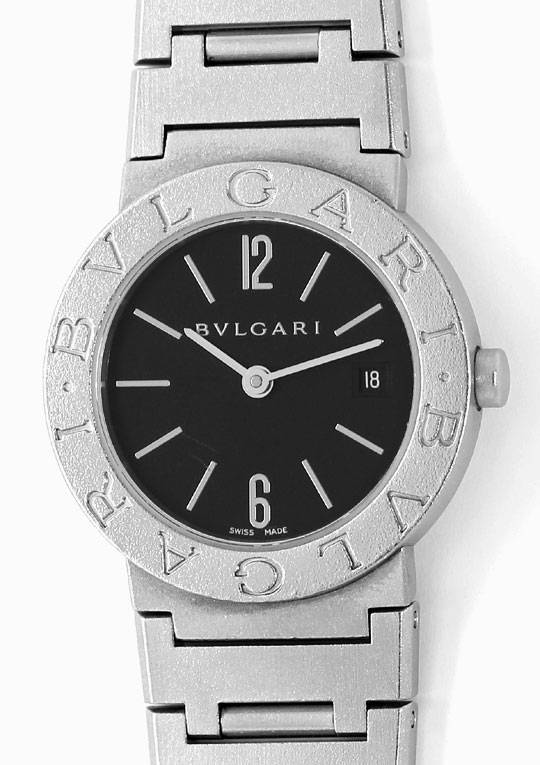 bulgari bvlgari damen armbanduhr mit datum in edelstahl u2438. Black Bedroom Furniture Sets. Home Design Ideas