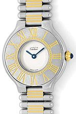 Must de Cartier Montre 21 Damenarmbanduhr in Stahl Gold