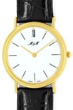 MundM Herrenuhr massiv 18K Gold, Superflach, Neuzustand