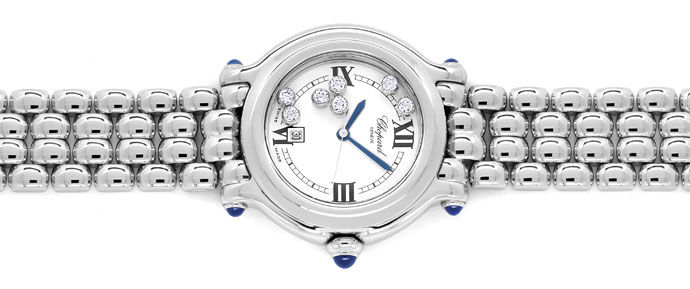 Foto 1, Chopard Happy Sports Medium-Uhr Brillanten Safire Stahl, U2485