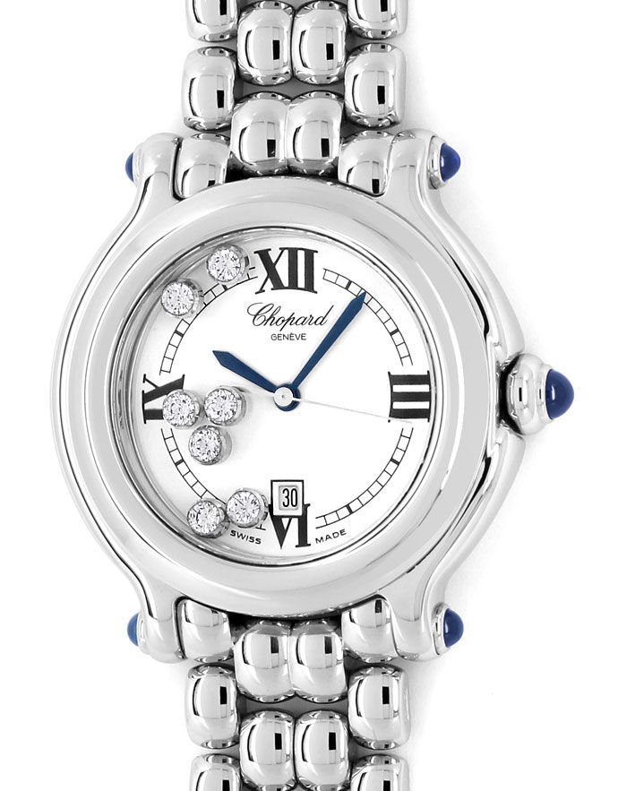 Foto 2, Chopard Happy Sports Medium-Uhr Brillanten Safire Stahl, U2485