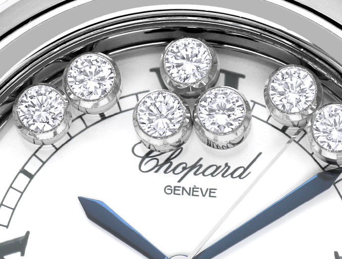 Foto 3, Chopard Happy Sports Medium-Uhr Brillanten Safire Stahl, U2485