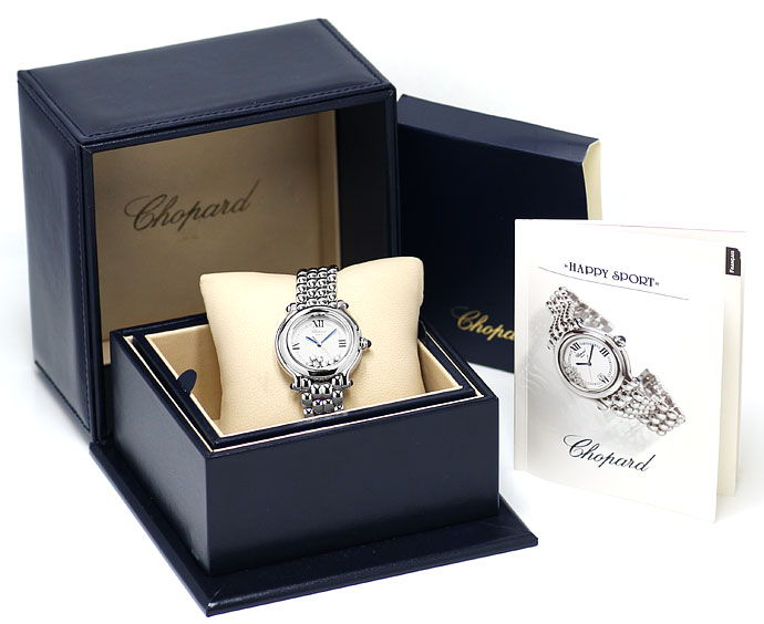Foto 5, Chopard Happy Sports Medium-Uhr Brillanten Safire Stahl, U2485