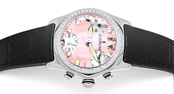 Foto 1, Brillanten Corum Bubble Chronograph Damen rosa Perlmutt, U2526