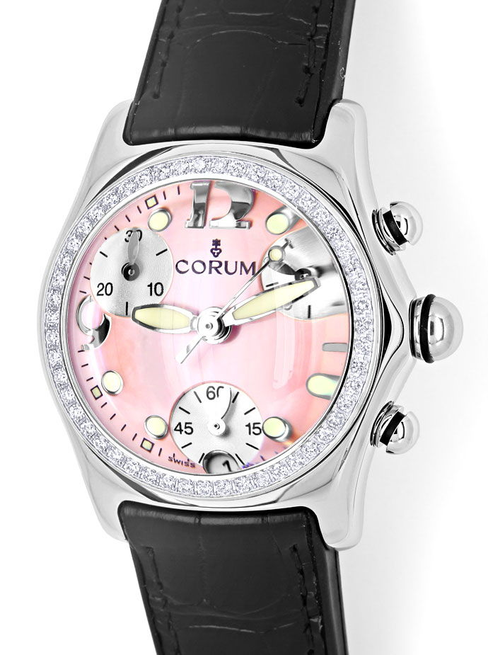 Foto 2 - Brillanten Corum Bubble Chronograph Damen rosa Perlmutt, U2526
