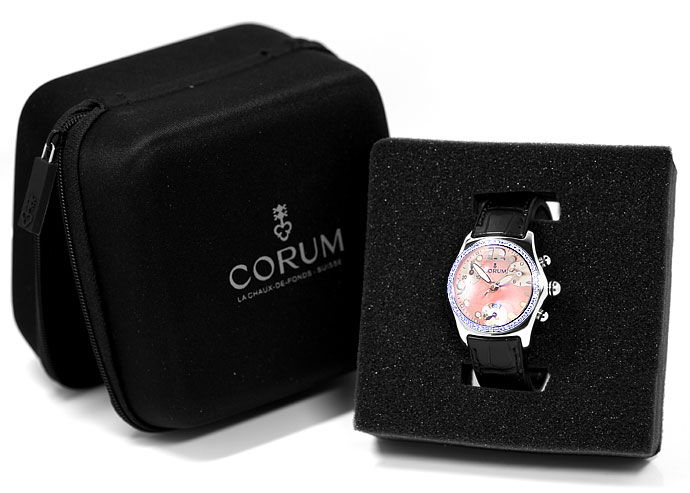 Foto 8 - Brillanten Corum Bubble Chronograph Damen rosa Perlmutt, U2526
