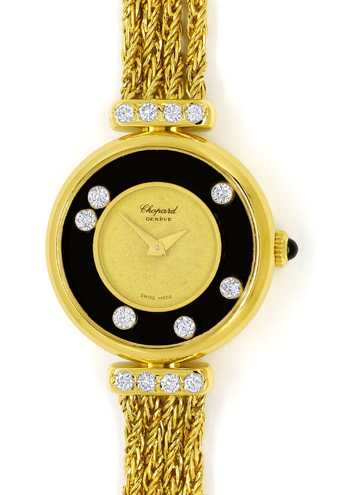 Foto 2 - Chopard Happy Diamonds Damen Uhr 14 Brillanten Gelbgold, U2545