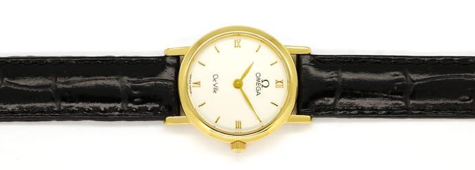 Omega damenuhr gold lederarmband