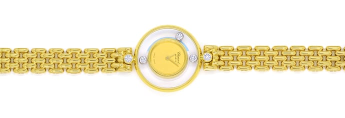 Foto 1, Chopard Happy Diamonds Ronde 5 Brillanten Gold Damenuhr, U2570