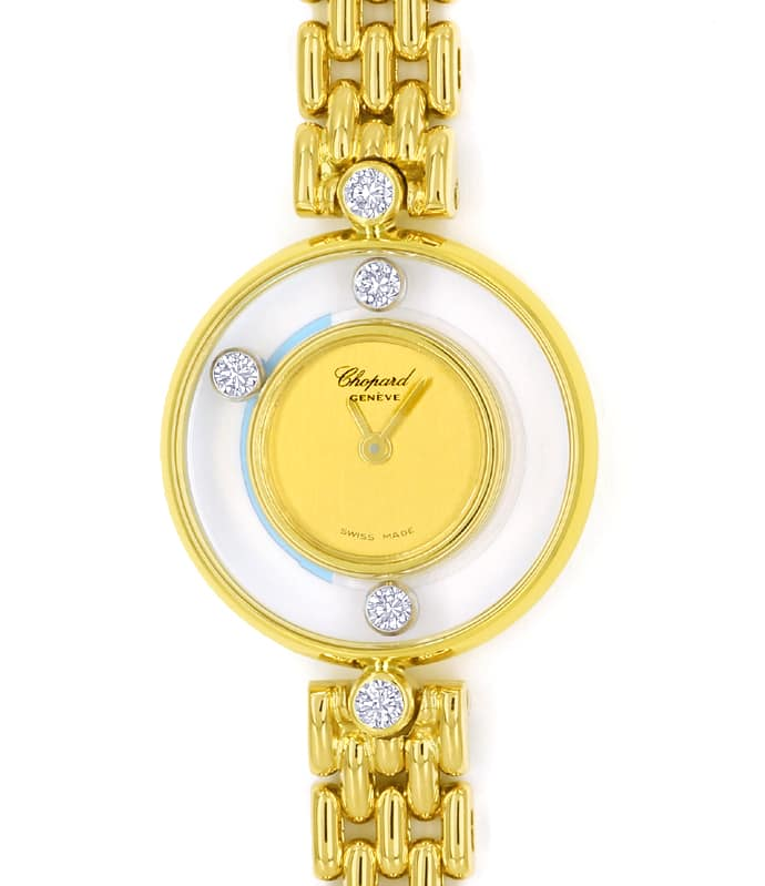 Foto 2 - Chopard Happy Diamonds Ronde 5 Brillanten Gold Damenuhr, U2570