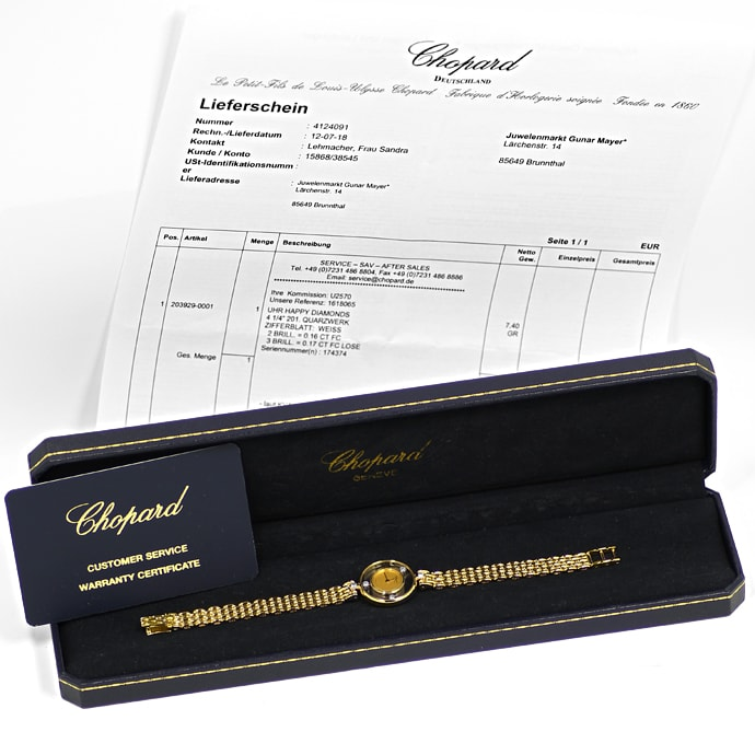 Foto 5, Chopard Happy Diamonds Ronde 5 Brillanten Gold Damenuhr, U2570