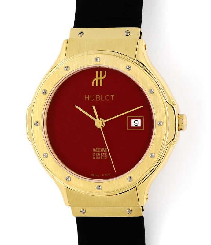Foto 2, Hublot Classic 32mm Medium Armbanduhr in Gold Kautschuk, U2577